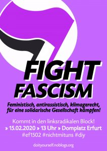 Plakat Fight Fascism Block 15.02. Erfurt